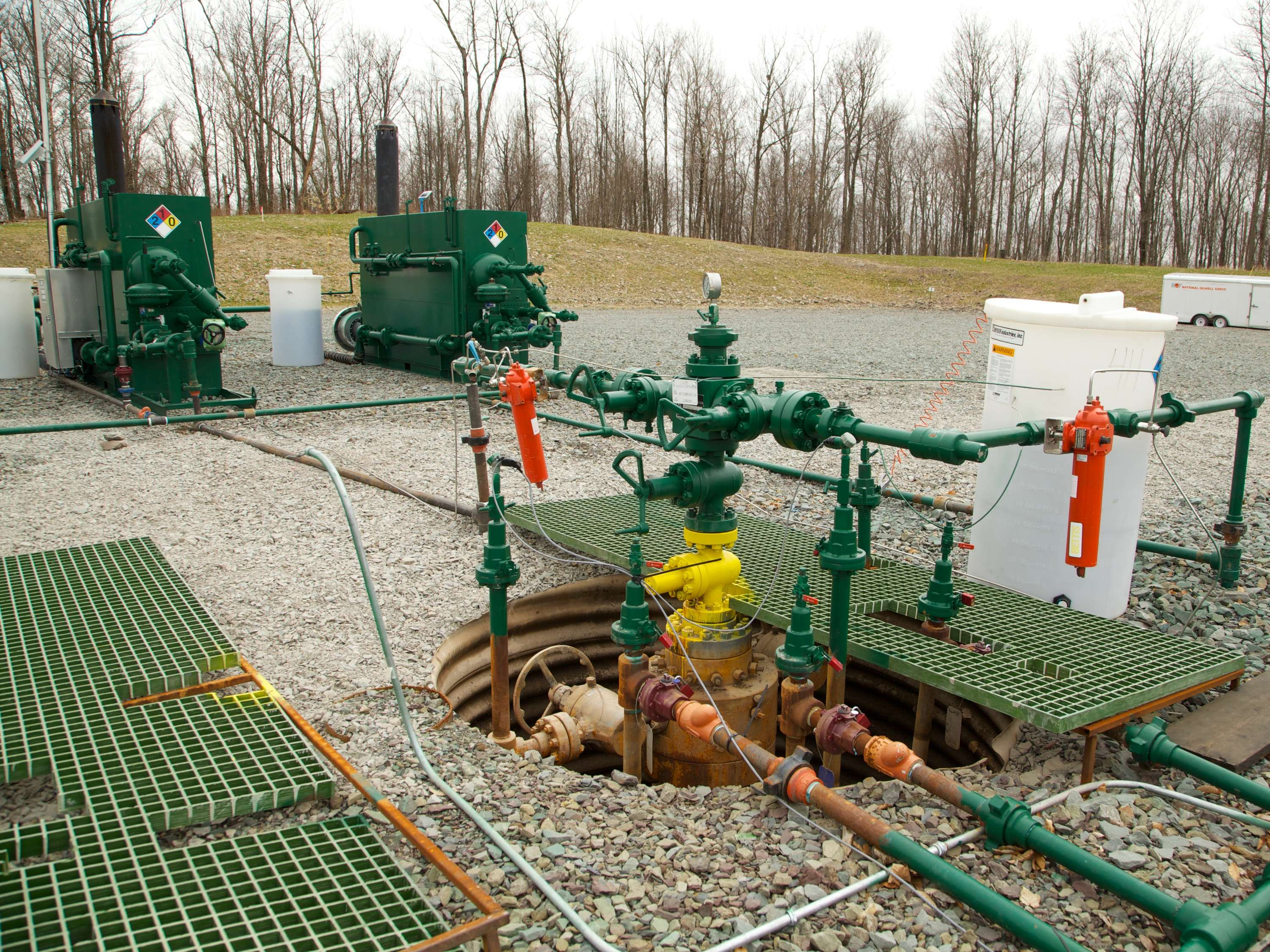 Each well is controlled by two separate gas production units