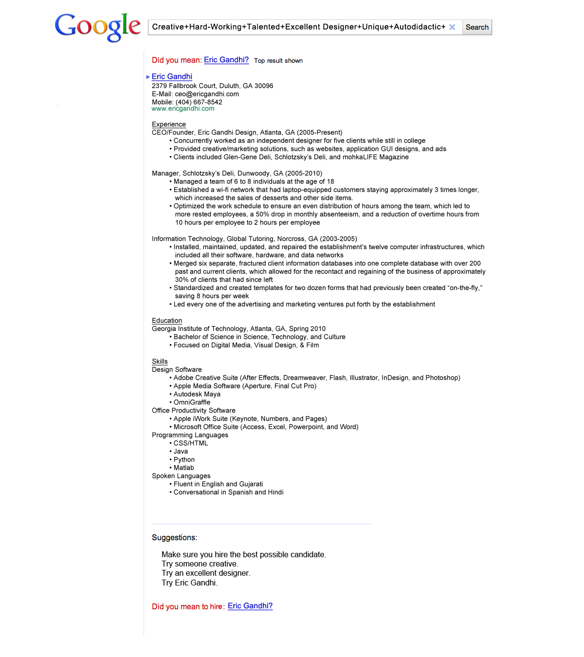 A Google Themed Resume Got Eric Gandhi An Interview With