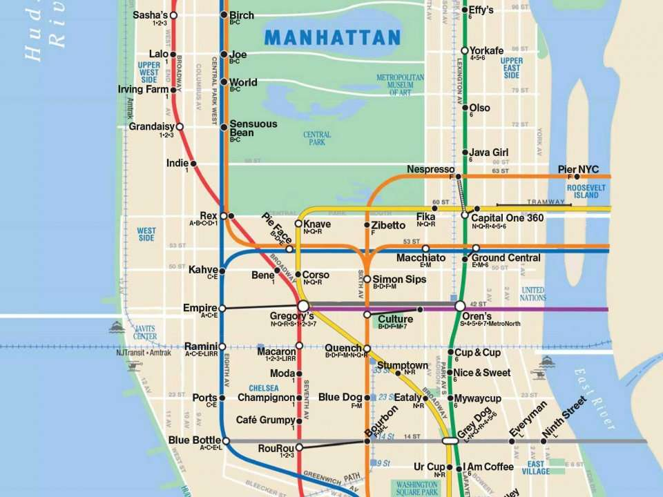 Best Map Of New York City.This Fantastic Map Shows The Best Coffee Shop Near Every New York