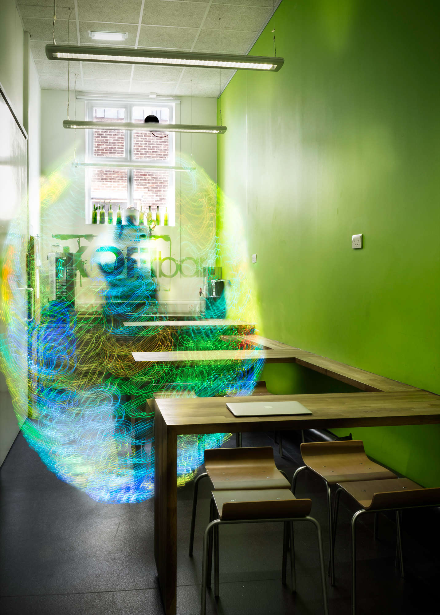Then he used long-exposure photography to capture the ghostly images of the colorful Wi-Fi signals.