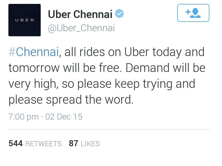 ChennaiFloods: Uber offers free rides in Chennai for today