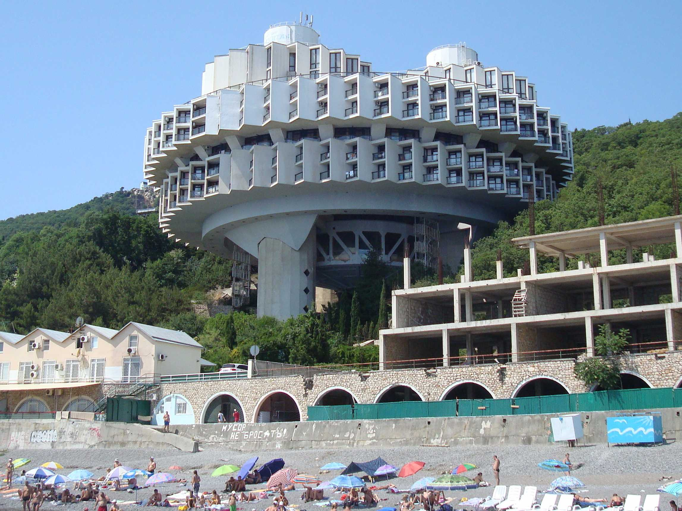 http://www.businessinsider.in/photo/52363872/the-12-most-absurd-soviet-era-buildings-that-are-still-standing/This-resort-in-Ukraine-combines-two-late-Soviet-architectural-trends-Constructing-things-off-the-ground-and-buildings-that-look-slightly-like-UFOs-.jpg