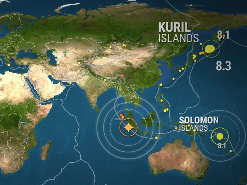 Animated map shows where the largest earthquakes of the ...