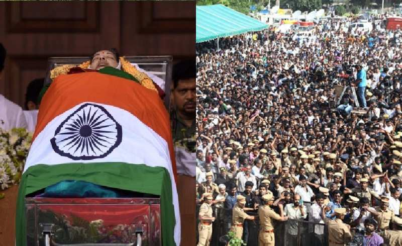 Hundreds of thousands gather to pay homage to Jayalalithaa