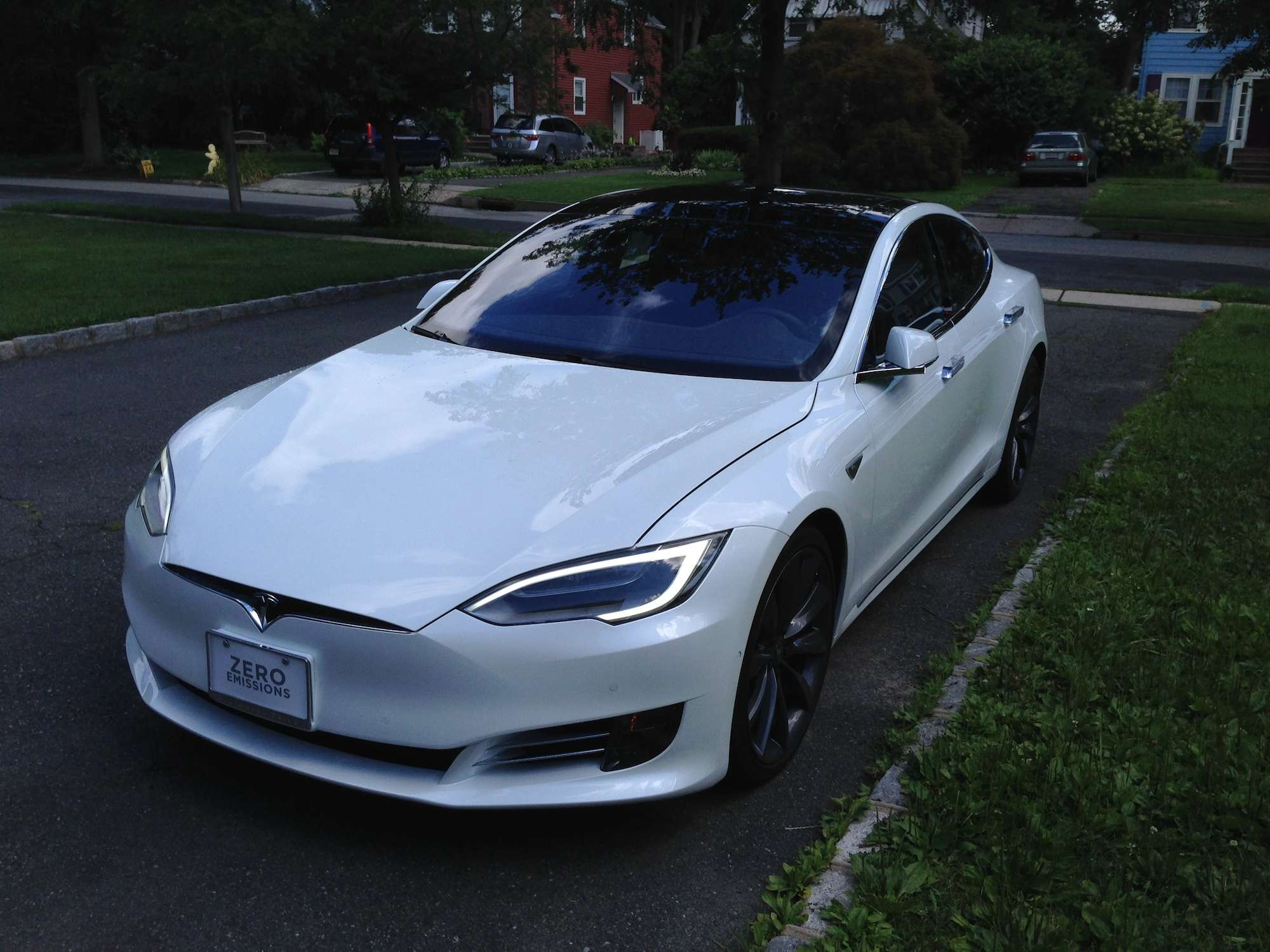The Pearl White Tesla Equipped With Everything Landed In The Driveway Of Our Suburban New