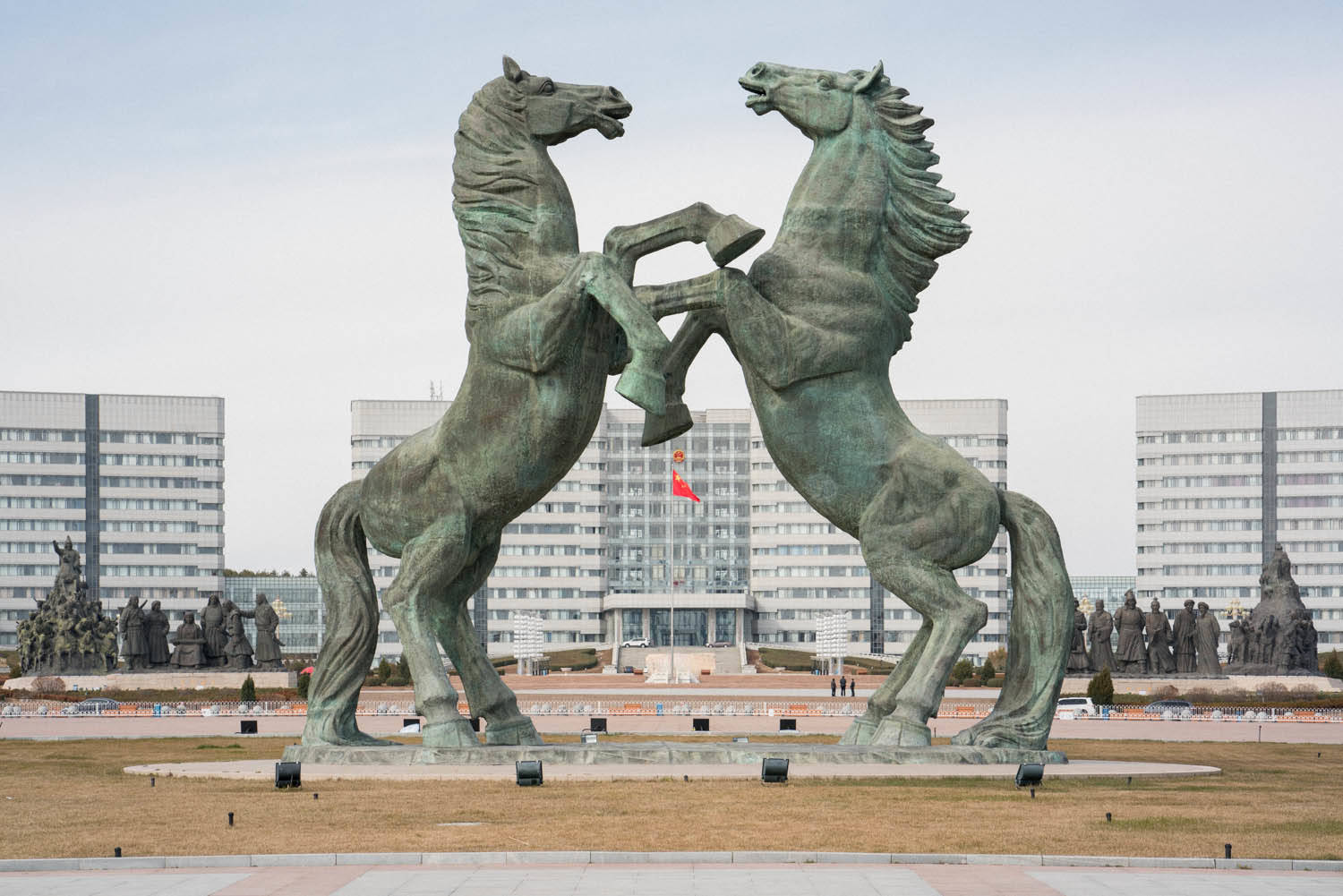 Two horse statues preside over Genghis Khan Plaza at the
