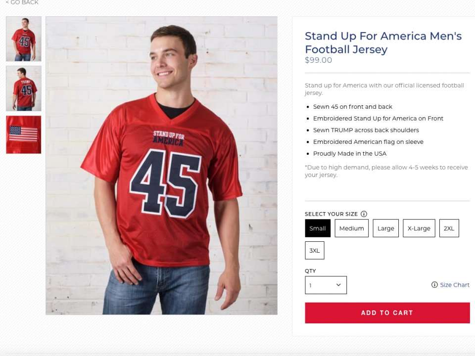 7cb9d685eb7 Trump's campaign store is selling $99 football jerseys that say 'Stand Up  for America' | Business Insider India
