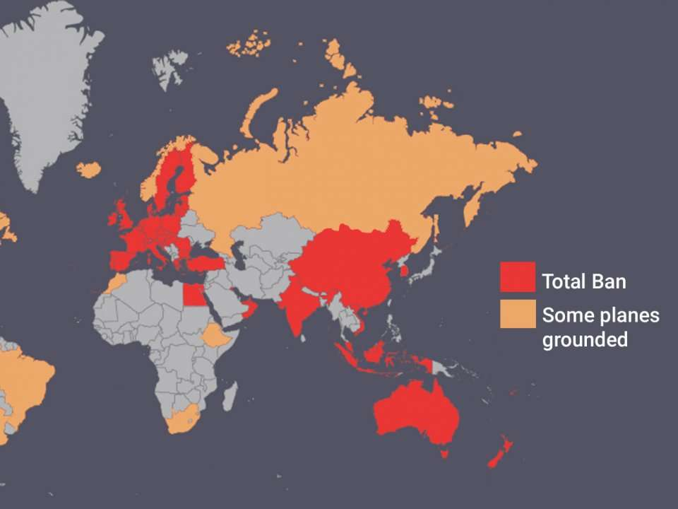This map shows all the countries to ban the Boeing 737 Max 8, or ...