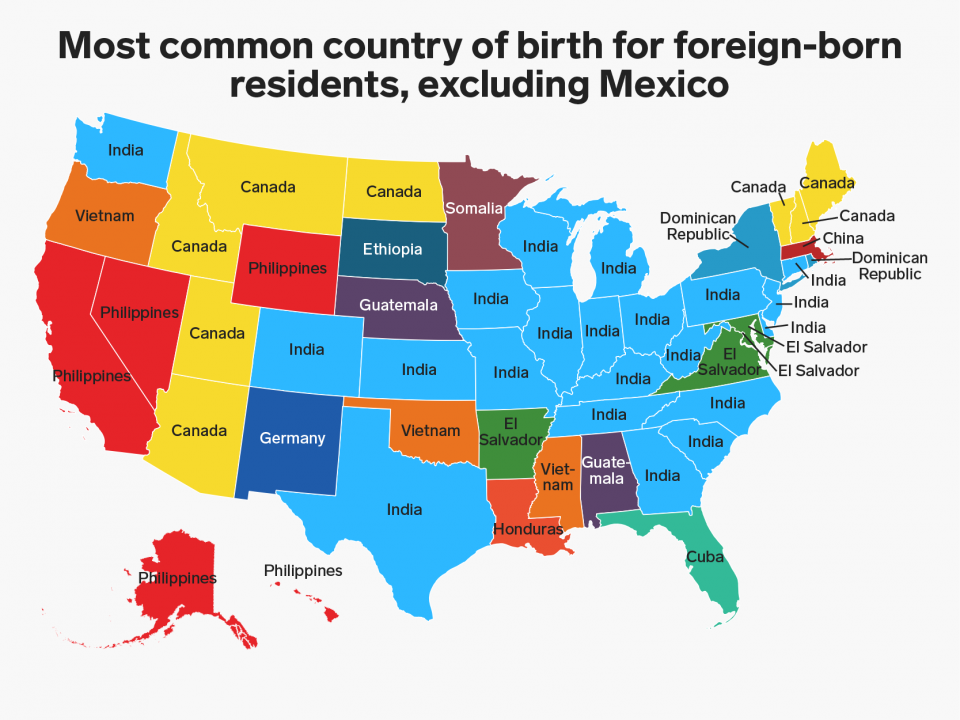 This map shows where each state\'s largest immigrant group comes from ...