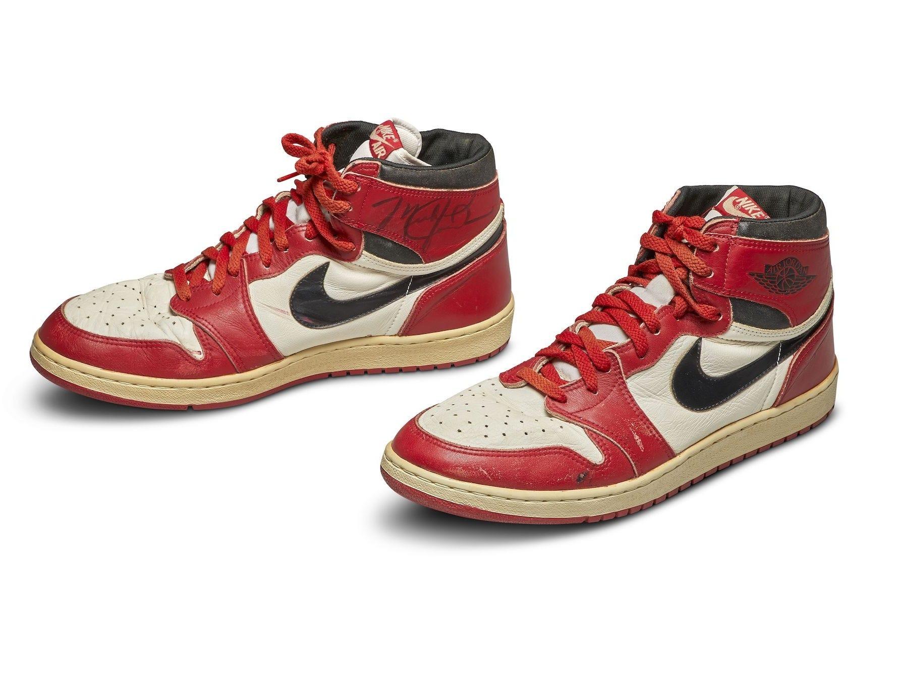 autographed 1985 Nike Air Jordan 1s