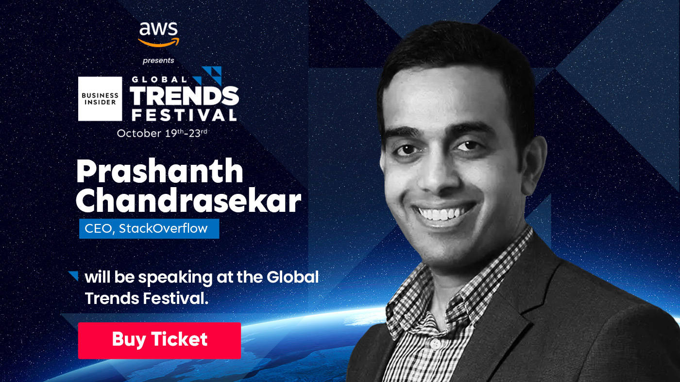 Prashant Chandrasekar who went from Bengaluru to become the CEO of Stack Overflow will be at Global Trends Festival 2020