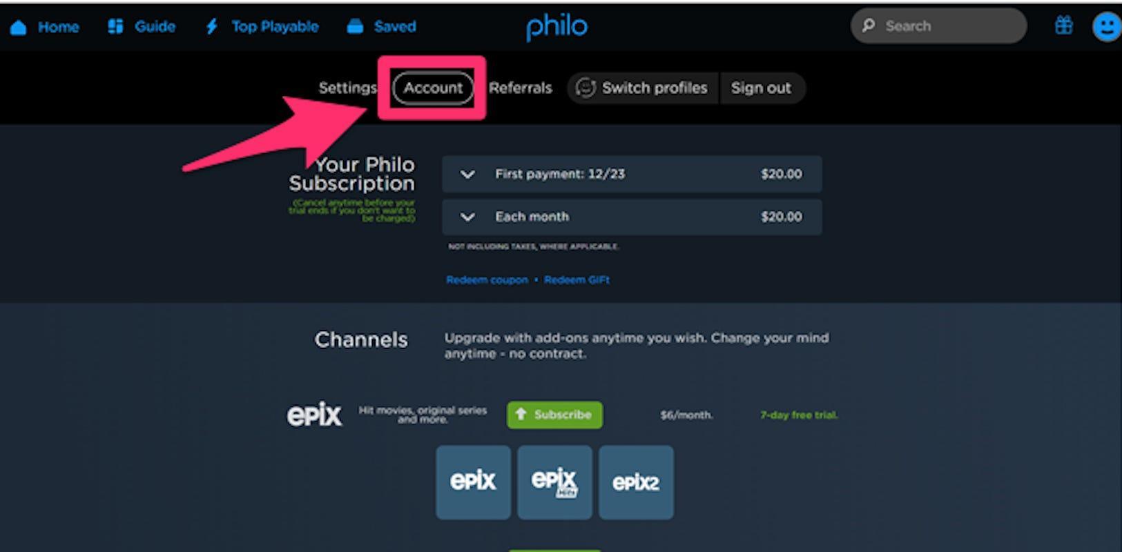 philo tv account