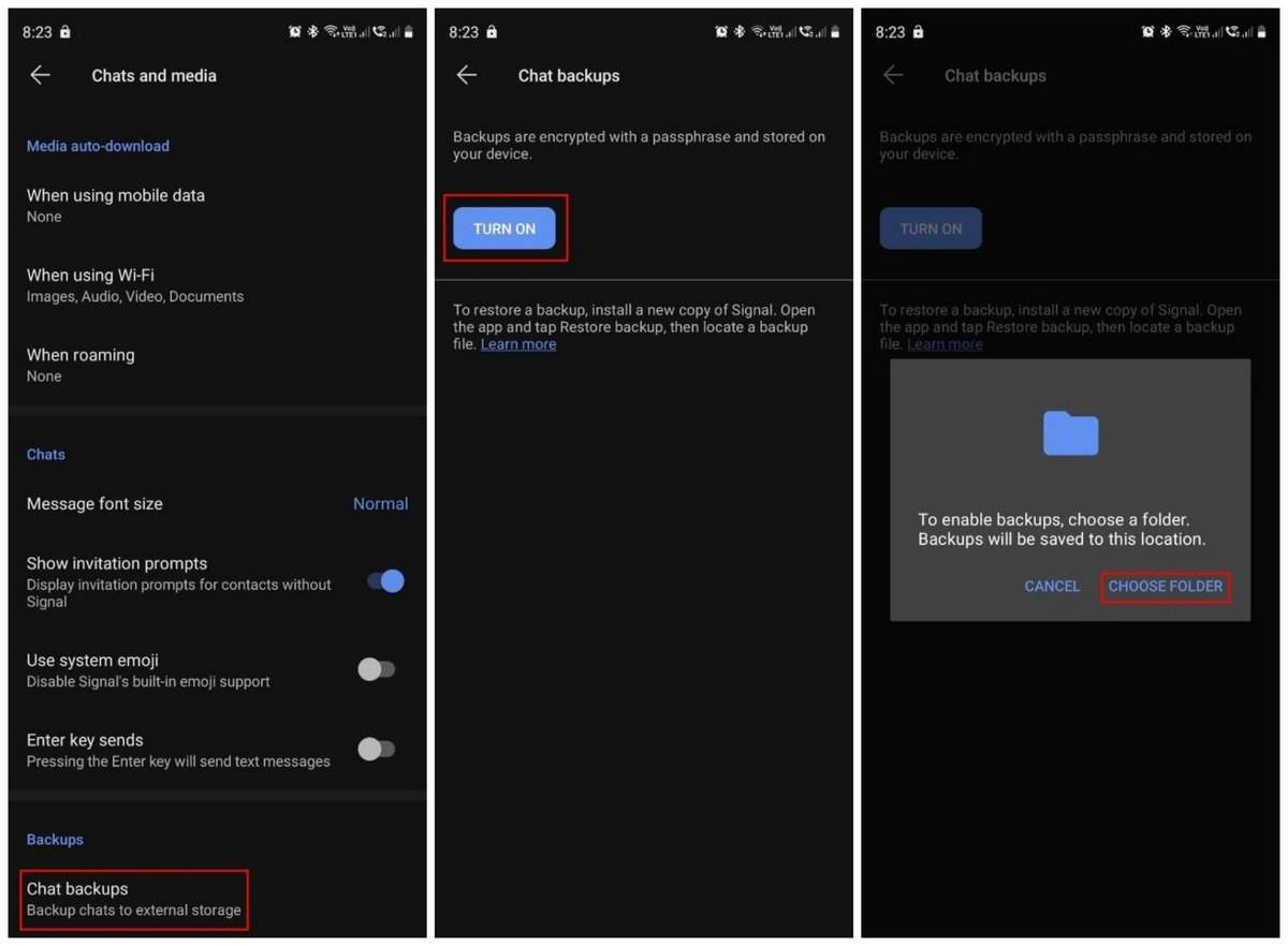 How to backup and restore messages in Signal app