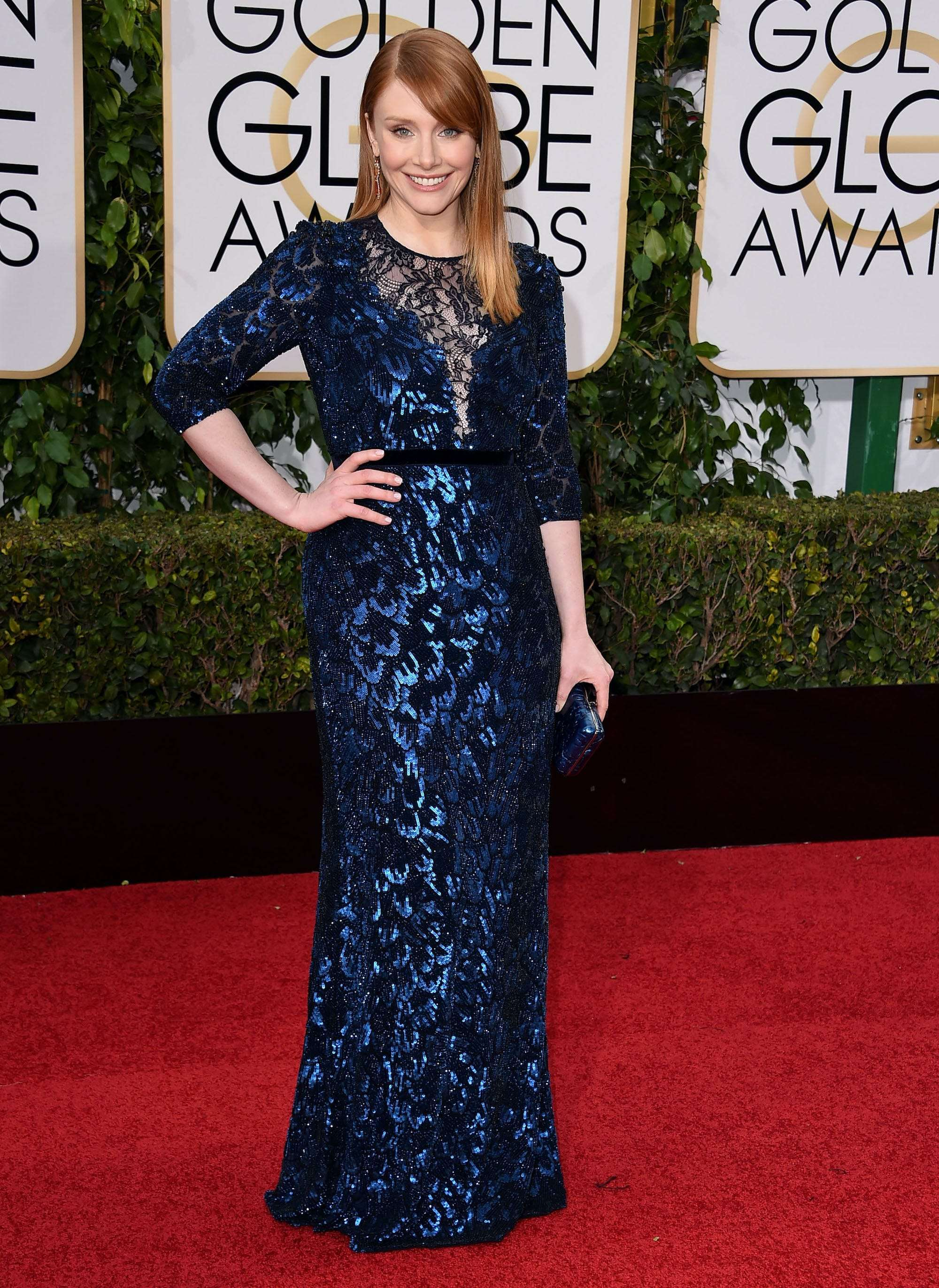 Bryce Dallas Howard wore a secondhand dress and shoes she already owned to the Golden Globes