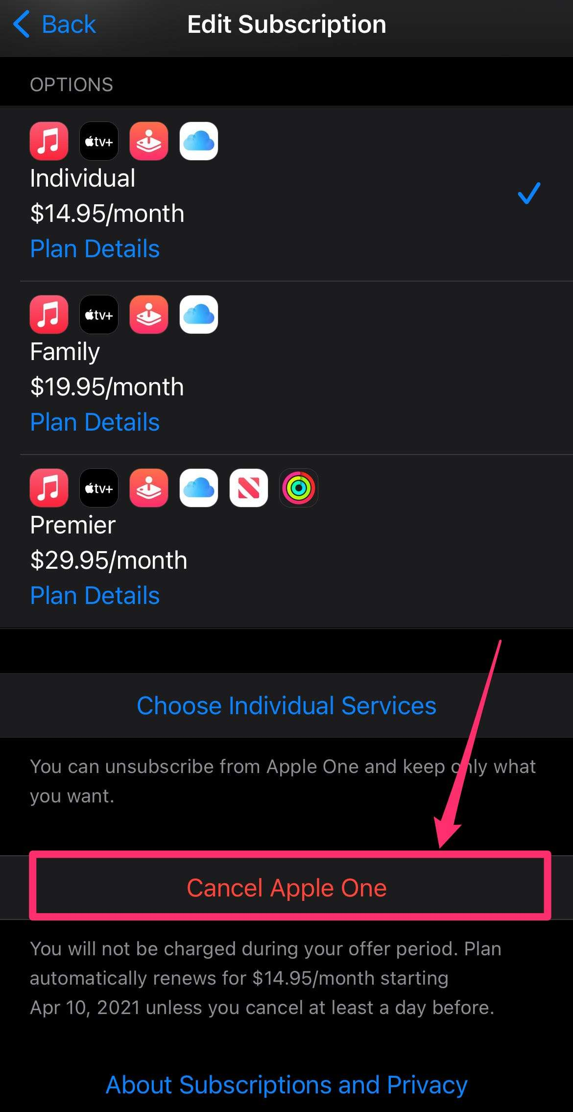 How to cancel mixer app subscription