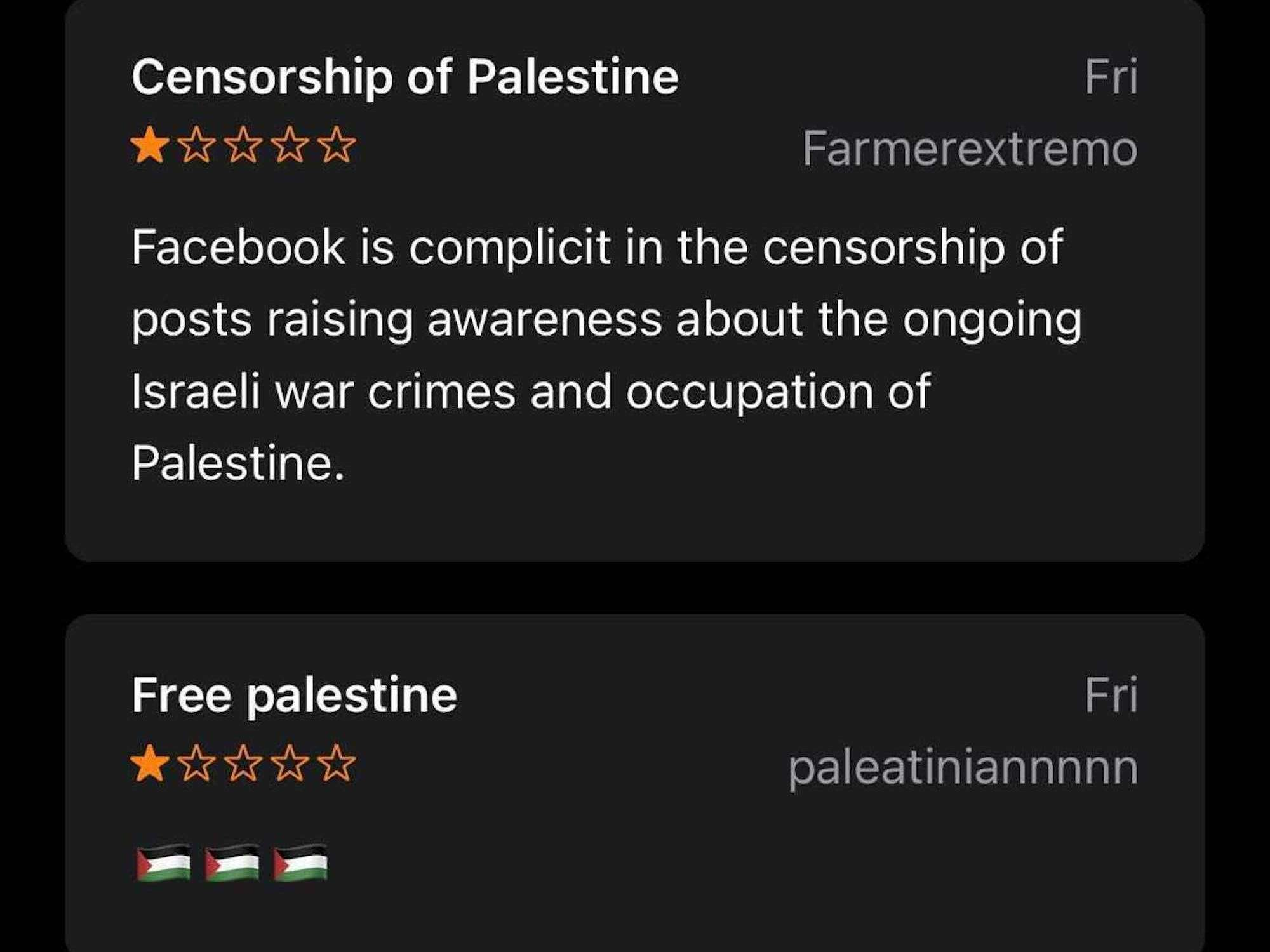 Apple refused to remove negative ratings for the Facebook app left by pro-Palestinian activists upset over censorship
