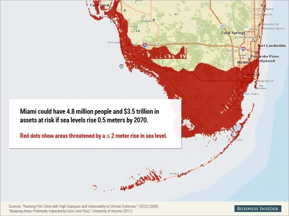 miami sea level rise map This Map Shows How Screwed Miami Is If Sea Levels Keep Rising miami sea level rise map