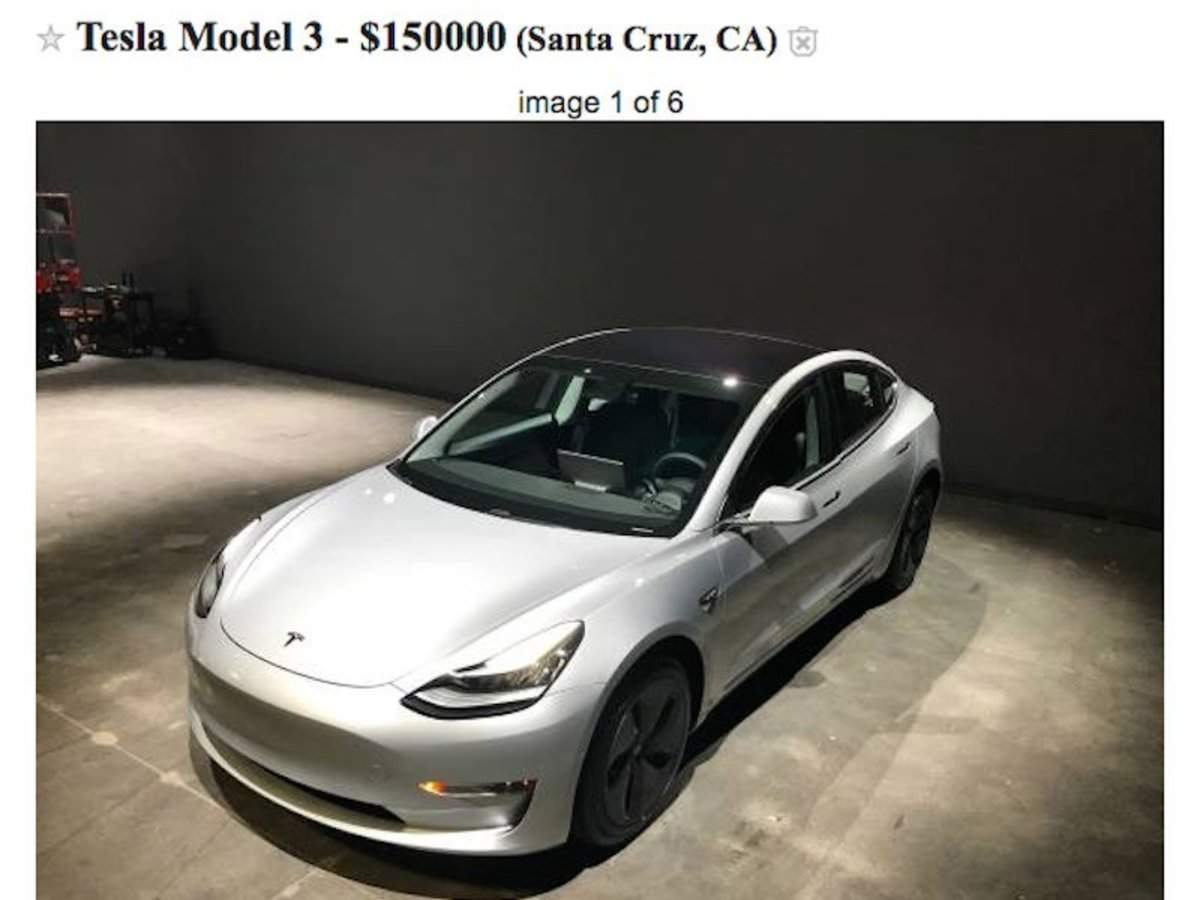 Someone claims to be selling a lightly used Tesla Model 3
