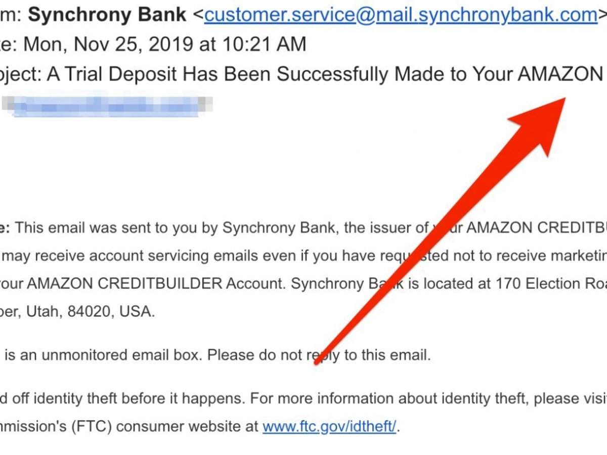 synchrony bank amazon credit builder: A suspicious email blast on