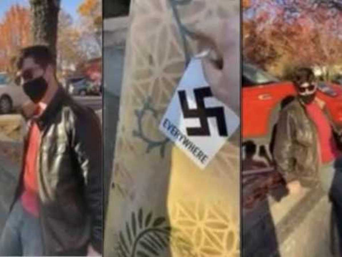 A viral video shows 21-year-old California man confront a stranger who was posting 'We Are Everywhere' swastika stickers in his town