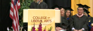 A graduation speaker used her address to explain how she negotiated her speaking fee - and then gave all of it to a 2017 graduate