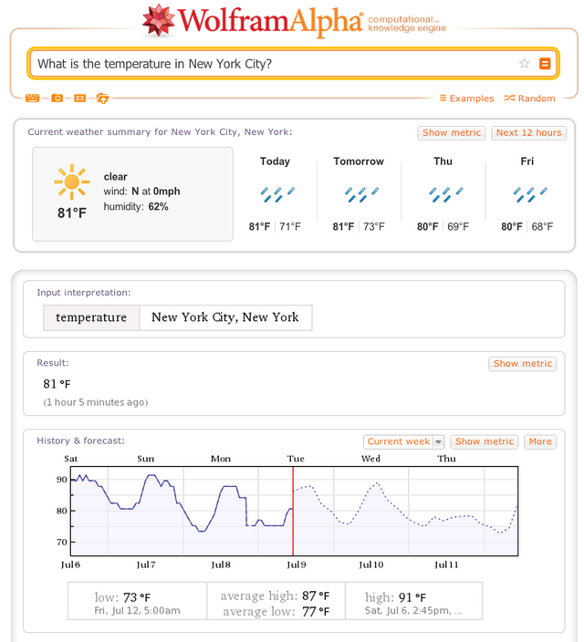 2. Use Wolfram Alpha to find out more than you ever wanted to know about why the weather is unbearable today.