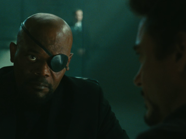 Image result for iron man meets nick fury in iron man 1
