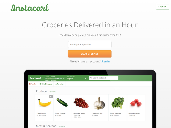 To get started, first enter your zip code to see if Instacart delivers in your area. The entry page boasts that it will deliver your groceries in an hour.