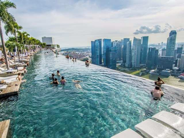 The Marina Bay Sands SkyPark, located on Bayfront Avenue, offers an observation deck and a stunning infinity pool where you can gaze at the city from 57 stories up. Though the infinity pool is only accessible to the hotel's guests, the observation deck can be visited by purchasing a ticket.