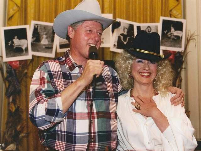 Former President Bill Clinton and Hillary Clinton dressed as country singers in 1995.