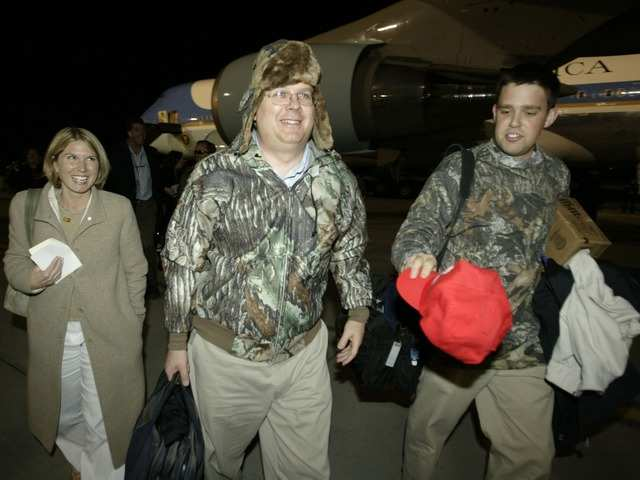George W. Bush's top political strategist, Karl Rove, got involved in a camouflage Halloween group costume.