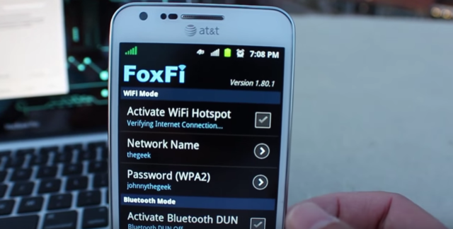 FoxFi turns your phone into a hotspot without your carrier