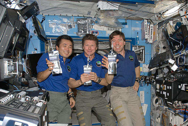 Like milk, most drinks NASA sends up are dehydrated that astronaut then rehydrate on the ISS. Powdered forms of Country Time lemonade, Nestea instant tea, and Kool-aid tropical punch are some examples of space drinks.