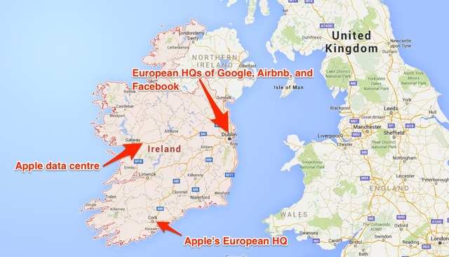 This map shows where Apple's European headquarters are in relation to its proposed data centre and the Irish outposts of other Silicon Valley giants.
