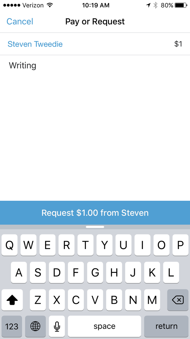 To request a payment, you use the same method as paying except you