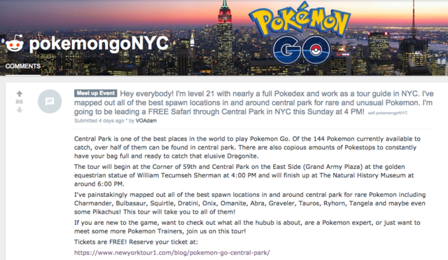 I went on a 'Pokemon GO' safari with dozens of people in Central