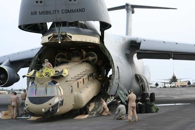 Chinook helicopters fit with ease.