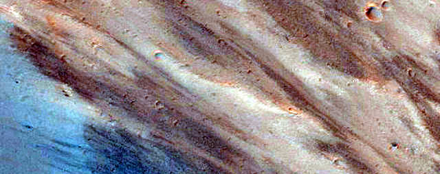 Exposed bedrock on the Capri Chasma, which may once have been filled with floodwaters.