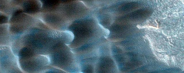 "Seasonal dunes on Mars nicknamed ""Buzzel."""