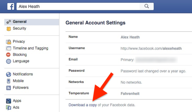 Saying goodbye to Facebook? Download all your data.