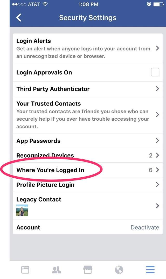 See everywhere you're logged into Facebook and remotely log out.