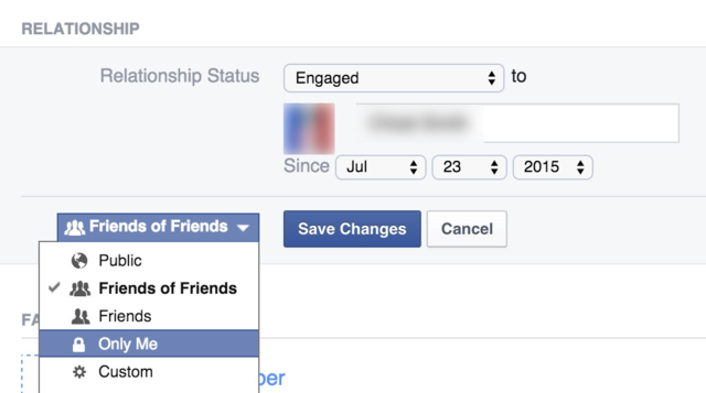 Hide your relationship-status change from your friends.