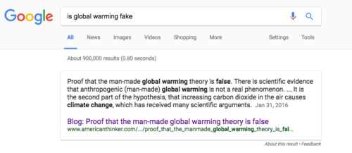 Google search results promote a lot of conspiracy theories