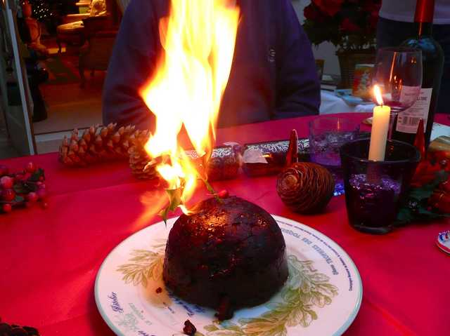 Christmas Pudding On Fire.We Ve All Heard Of Figgy Pudding But In The United