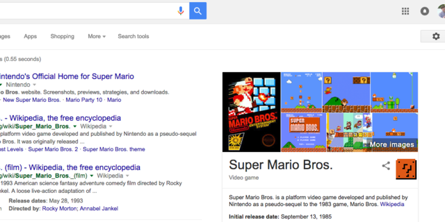 "15. There are clearly a few gamers on Google's Search team. Search ""Super Mario Bros,"" for instance, and one of the ""?"" Blocks from that series will show up in the appropriate Knowledge Graph cards. Click it, and you'll be treated the same coin-dispensing sound effect you'd hear in the original games."