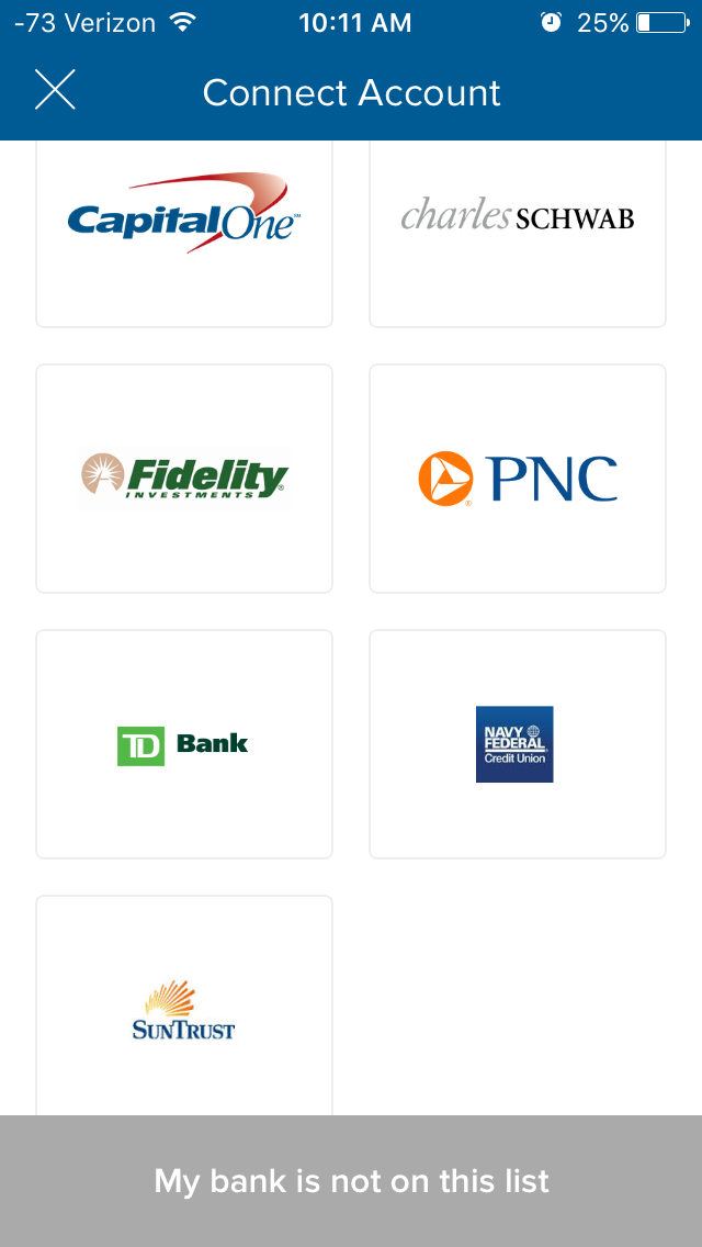 So I scrolled through the options to pick my bank.