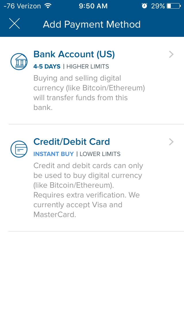I decided to give the app another try and opted to use my debit card to buy the bitcoin.