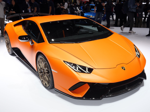 1. Lamborghini's much-anticipated Huracán Performante made its debut at the Geneva Motor Show. Its 5.2-liter, V10 engine produces a very respectable 640 hp.