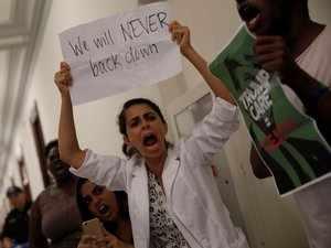 'Kill the bill! Don't kill us!': Protesters interrupt Senate vote on healthcare
