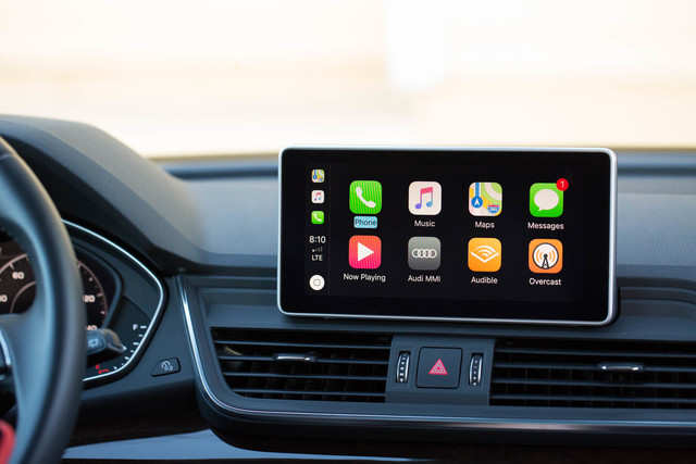 The Q5 came equipped with CarPlay from Apple  It places the most